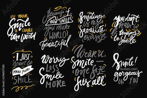 Poster Positive Typography Smile. Hand lettering quote for your design.