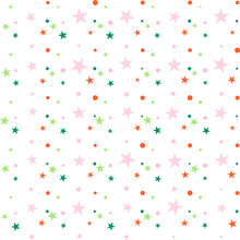 Colorful Festive Seamless Pattern, Abstract Background With Circles And Stars On White. Infinity Confetti Geometric Pattern. Wrapping Paper. Vector Illustration.