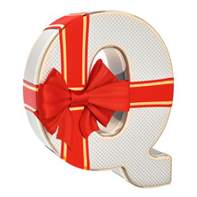 Letter Q, Gift Box Shaped Of A Letter Q With Red Ribbon Bow. 3D Rendering
