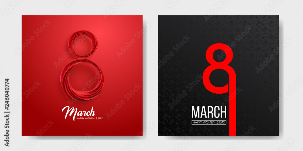 Fototapeta Banner for the International Womens Day. Sale banner, discount card. March 8 on the dark, black and red background. Vector illustration