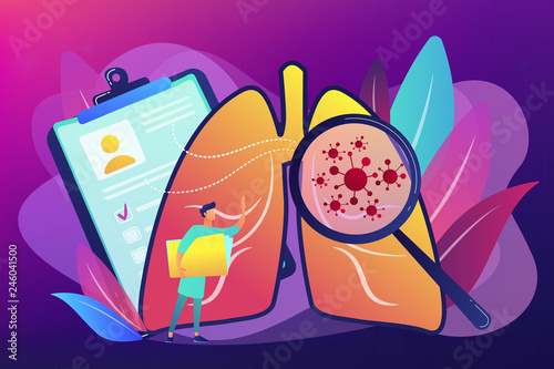 Huge magnifier showing cancer in the lungs and doctor with document folder. Lung cancer, trachea and bronchus concept on ultraviolet background. Bright vibrant violet vector isolated illustration