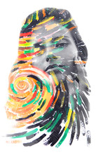 Paintography. Double Exposure Portrait Of A Healthy, Beautiful Woman Combined With Impressionistic Style Flowing Brush Strokes Which Explode With Color And Life