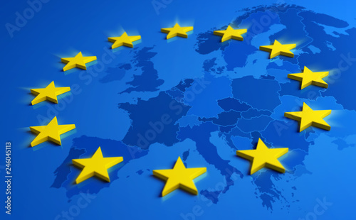 Europe blue flag with yellow stars and European Union map