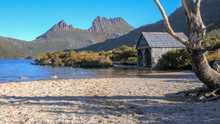 The Famous Old Boat Shed And The White Gravel Shore Of Dove Lake