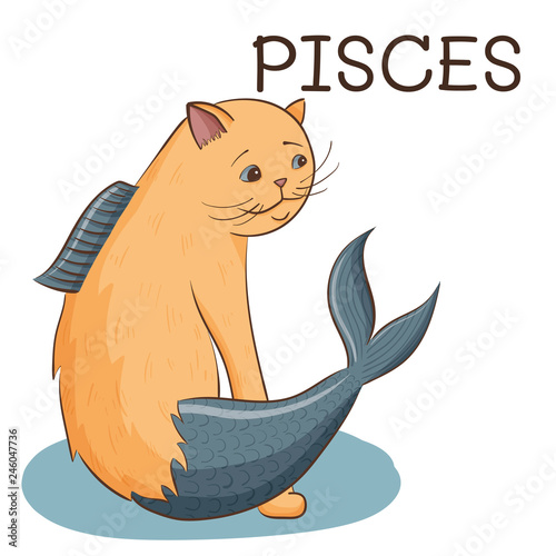 Pisces zodiac sign; cute cat with fish tail stylized as pisces zodiac; vector il Wallpaper Mural