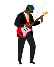 Jazz Guitarist In Hat With Mus...