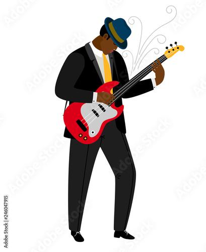 Jazz guitarist in hat with musical instrument. Vector jazz concert, instrument music guitarist illustration - 246047915