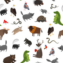 North America Animals Seamless...
