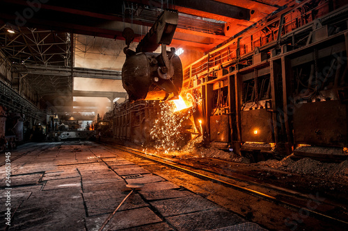 Fotomural  Pouring of liquid metal in open-hearth furnace