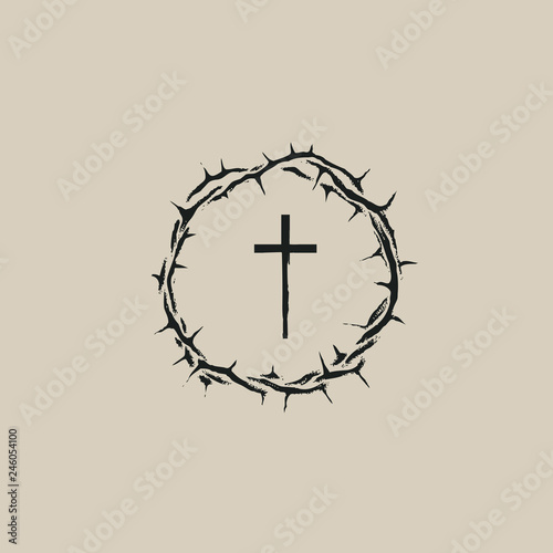 Canvas Print Vector Easter banner with crown of thorns and cross.