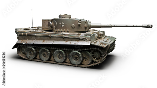 Vintage German World War 2 armored heavy combat tank on a white background Wallpaper Mural