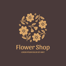 Logo For Flower Shop. Stylized Gold Flowers On Brown Background. Vector Illustration In Modern Style.