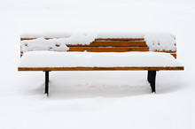 Bench Covered With Fresh White Snow