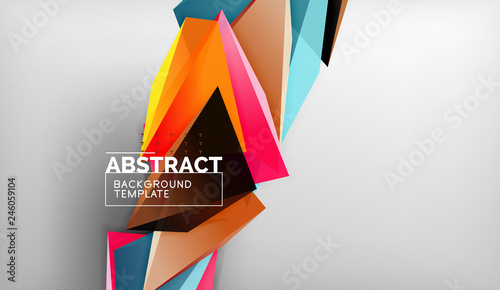 Photo Stands 3d geometric triangular shapes abstract background, color triangles composition on grey backdrop, business or hi-tech conceptual wallpaper