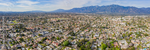 Photo Aerial view of the San Gabriel Mountains and Arcadia area