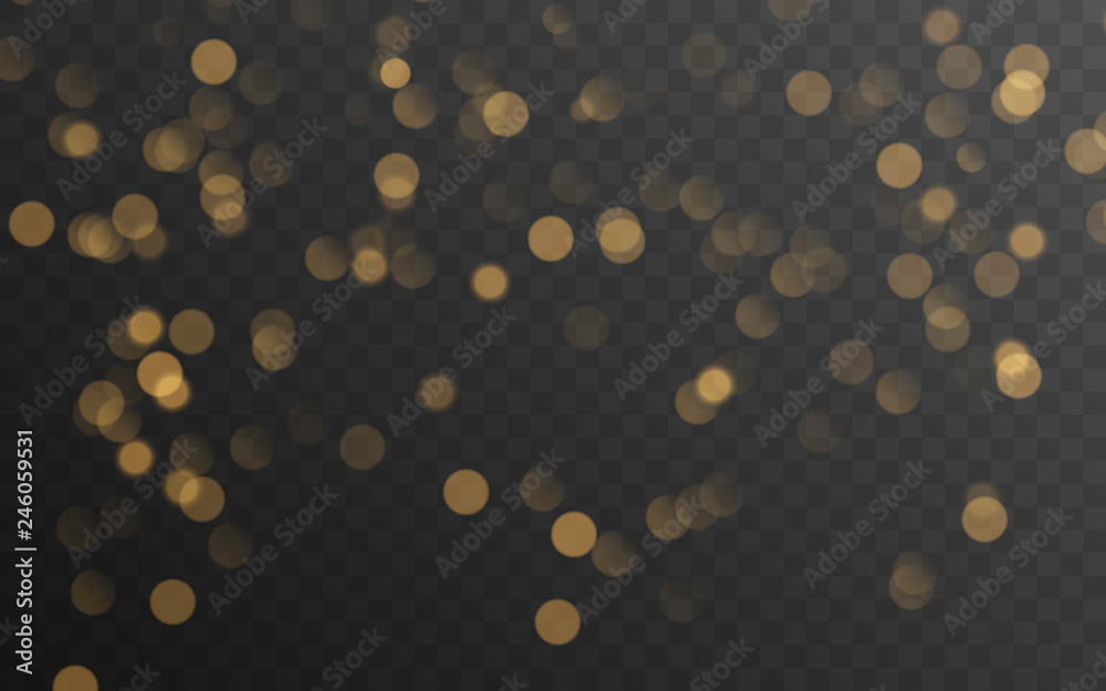 Fototapety, obrazy: Abstract golden shining bokeh isolated on transparent background. Decoration or christmas background.