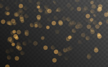 Abstract Golden Shining Bokeh Isolated On Transparent Background. Decoration Or Christmas Background.