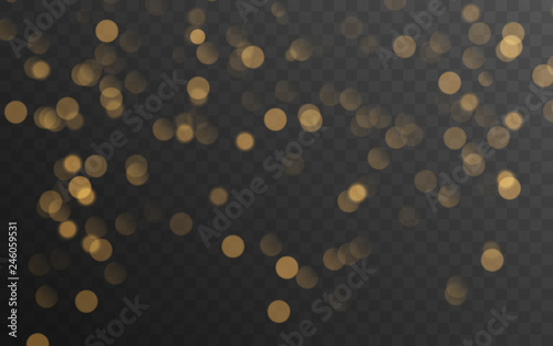 Abstract golden shining bokeh isolated on transparent background Fototapet