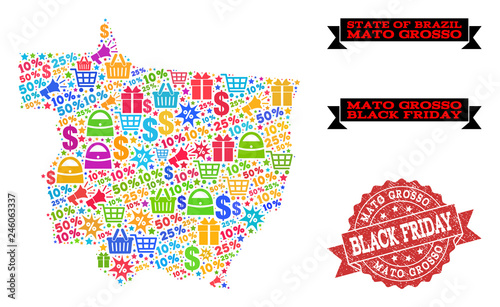 Fotografija  Black Friday combination of mosaic map of Mato Grosso State and rubber stamp