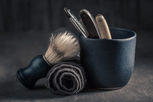 Unique Barber Equipment With Old Razor, Soap And Brush