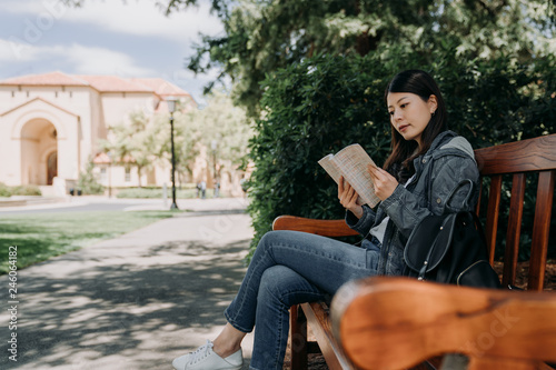 Obraz asian female college student sitting on wood bench reading novel book relaxing under tree shadows on sunny day outdoor. young girl studying abroad join short term summer tour program in usa stanford. - fototapety do salonu