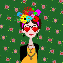 Caricature Of Artist Girl With Red Heart Glasses. Mexican Woman Artist With Hairstyle And Flowers In Flat Style. Vector Portrait Isolated On Flower Background