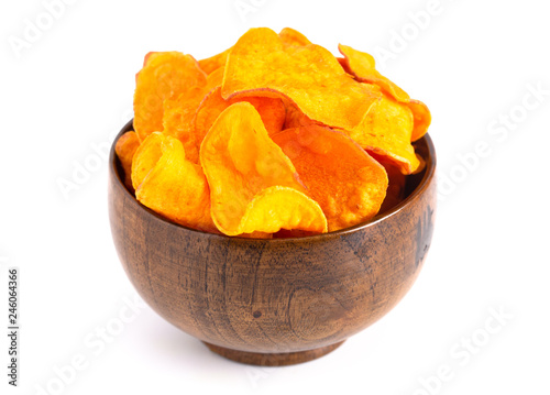 Fotografie, Tablou Potato Chips Made with Sweet Potatoes an Alternative to Classic Chips