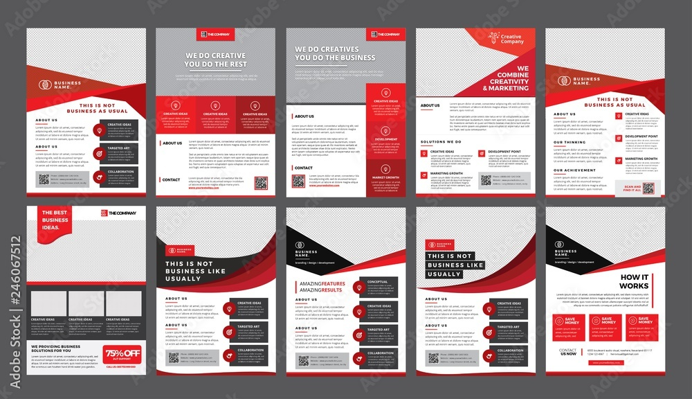 Fototapeta a bundle of 10 templates of a4 flyer template, modern template, in red color, and modern design, perfect for creative professional business