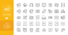 Simple Set Of Multimedia Related Vector Line Icons. Contains Such Camera, Computer, Cinema, And More