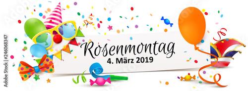 Rosenmontag 2019 Zettel Banner Mit Fasching Accessoires Buy This