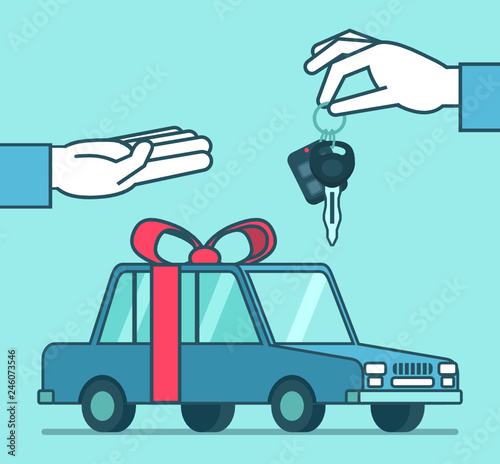 Hand gives car keys over the car. Win car in lottery, prize or gift. Simple style vector illustration