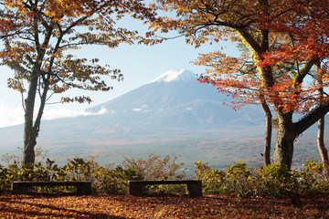 Fototapeta Japoński Colorful Autumn in Mount Fuji, Japan - Lake Kawaguchiko is one of the best places in Japan