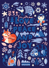 Love, Peace And Joy. Greeting Card In Scandinavian Style.