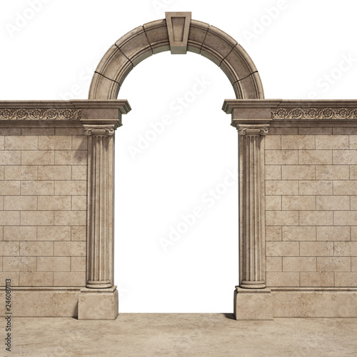 classic arch isolated on white Canvas Print