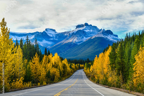Fototapeta The road 93 beautiful Icefield Parkway in Autumn Jasper National park,Canada