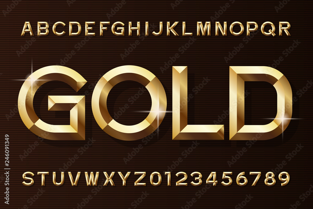 Fototapety, obrazy: Gold alphabet font. 3d beveled gold effect letters and numbers. Stock vector typescript for your design.