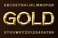 Gold Alphabet Font. 3d Beveled...
