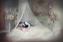 Fairytale Princess Sleeping That Will Awaken By The Kiss Of Prince Charming