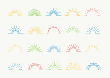 Sunburst Icons Vector Set Colo...