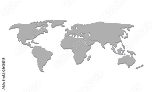 World Map Vector 3d Concept Gray Color Isolated On White Background