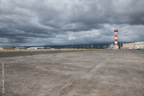 Military base airport runway with control tower Wallpaper Mural