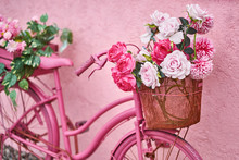 Bright Pink Bike With Flowers ...