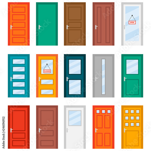 Fototapeta Colorful front doors to houses and buildings set in flat design style. Set of color door icons, vector illustration. Colourful realistic front doors collection obraz