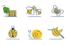 Gardening Icons Set With Outli...