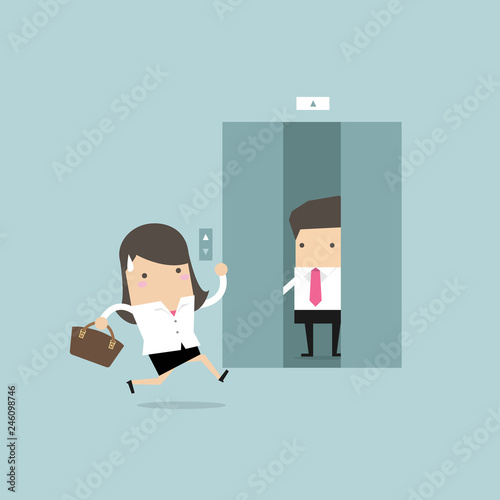 Fotografie, Tablou  Businesswoman running to elevator and elevator is closing.
