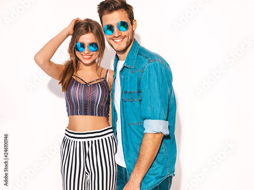 Fotografia  Portrait of Smiling Beautiful Girl and her Handsome Boyfriend laughing