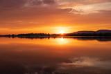 Fototapeta Sypialnia - Sunset on a lake in Hohenrode in Germany