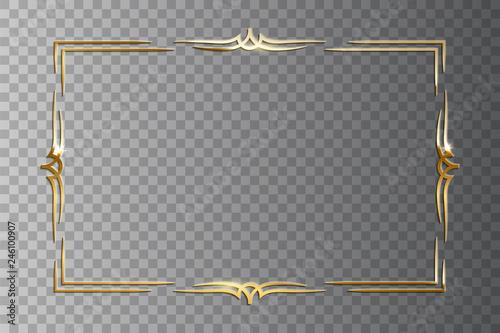 Obraz na płótnie Golden shiny retro frame isolated on transparent background