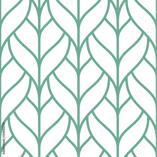 Stylish seamless pattern with green outline leaves