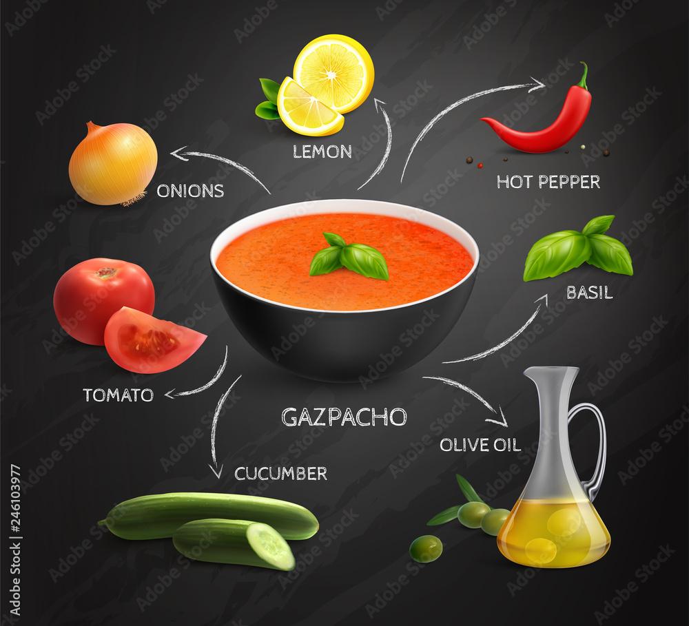 Photo  Gazpacho Recipe Infographics Layout